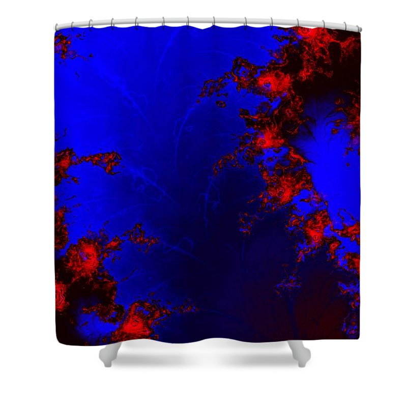 Lava Flow Wind Rythm Volcano Red Blue Shower Curtain featuring the digital art Volcano by Veronica Jackson