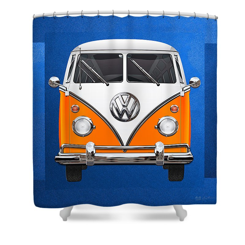 'volkswagen Type 2' Collection By Serge Averbukh Shower Curtain featuring the photograph Volkswagen Type - Orange and White Volkswagen T 1 Samba Bus over Blue Canvas by Serge Averbukh