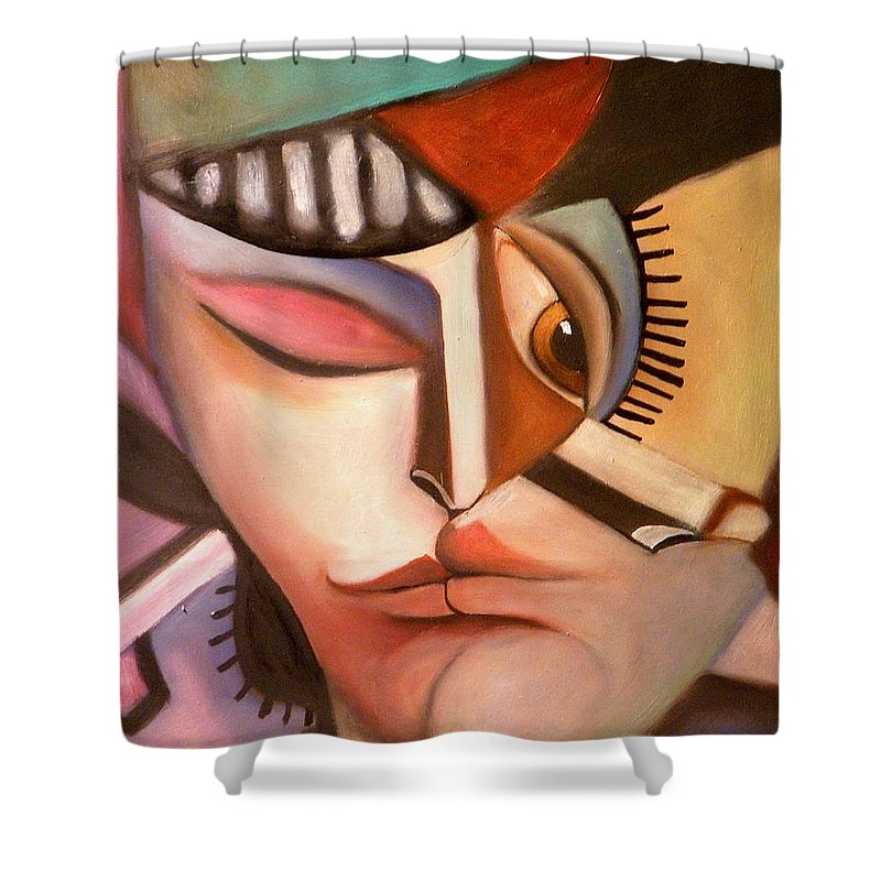 Cubism Shower Curtain featuring the painting Voluptuaire by Niki Sands