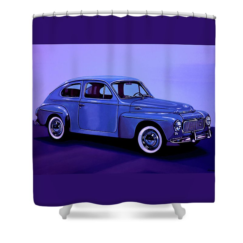 Volvo Pv544 Shower Curtain featuring the mixed media Volvo Pv 544 1958 Mixed Media by Paul Meijering