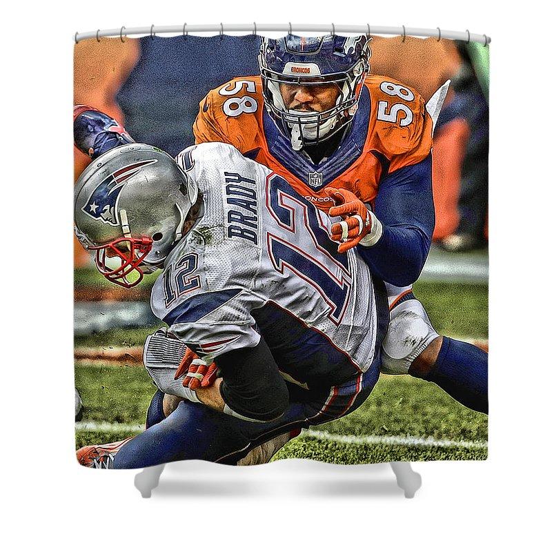 Von Miller Denver Broncos Art Shower Curtain For Sale By Joe Hamilton