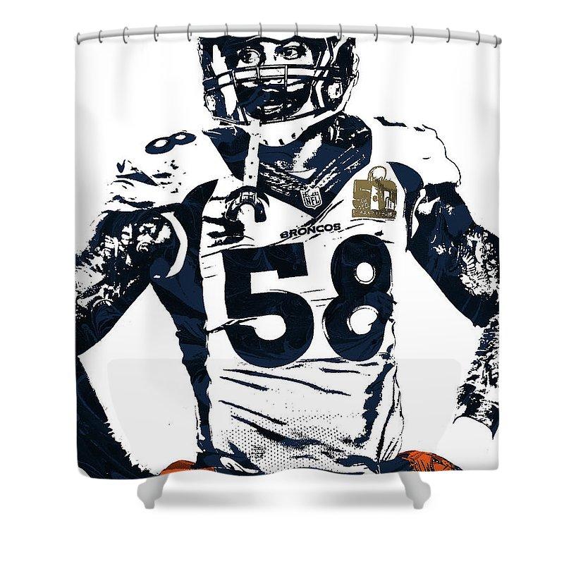 Von Miller Shower Curtain Featuring The Mixed Media Denver Broncos Pixel Art 2 By