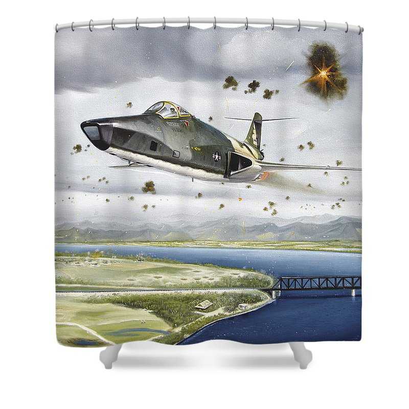 Military Shower Curtain featuring the painting Voodoo Vs The Dragon by Marc Stewart