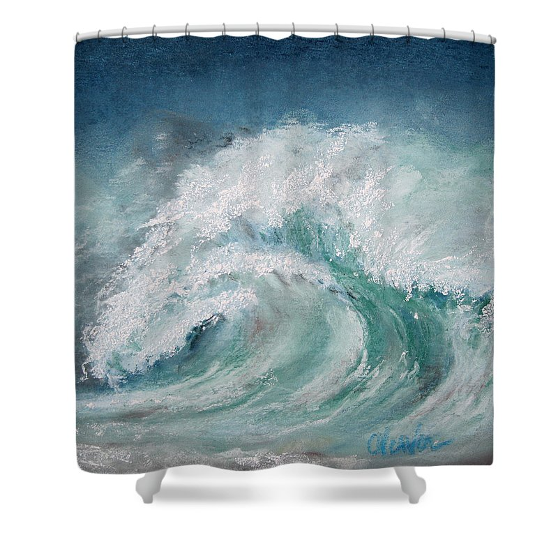 Ocean Shower Curtain featuring the painting Vortex by Cathy Weaver