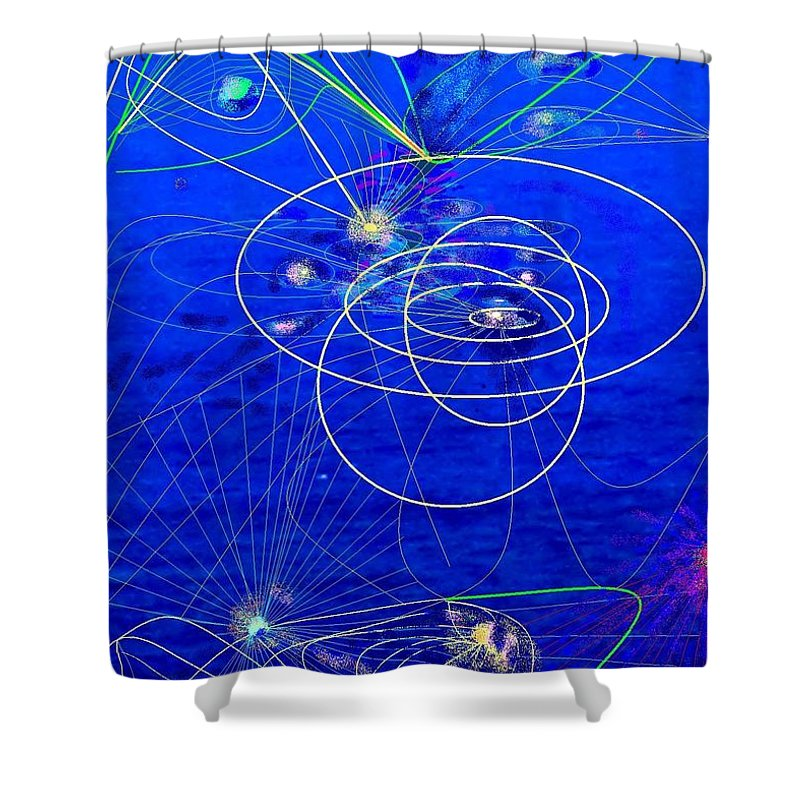 Abstract Shower Curtain featuring the digital art Voyage by Ian MacDonald