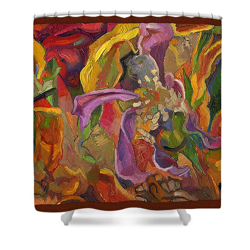Flowers Shower Curtain featuring the painting Vsp Xxiv -marigolds by Juel Grant