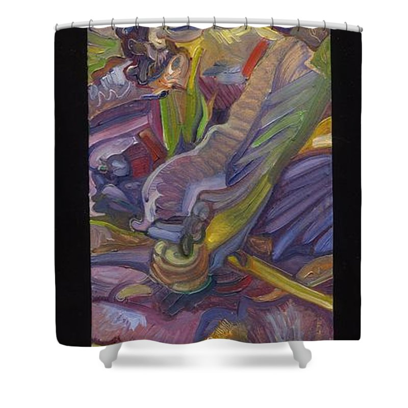 Abstract Shower Curtain featuring the painting Vsp Xxix Iris by Juel Grant