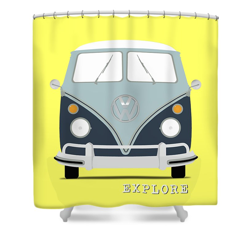 Volkswagen Shower Curtain Featuring The Photograph Vw Bus Blue By Mark Rogan