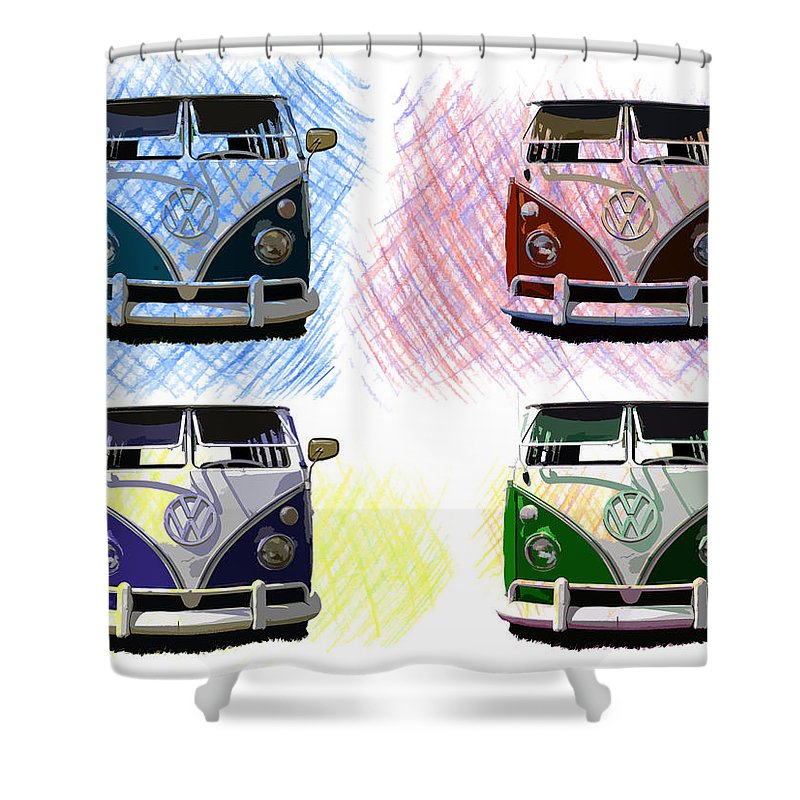 Vw Shower Curtain Featuring The Photograph Bus Poster Art By Steve McKinzie