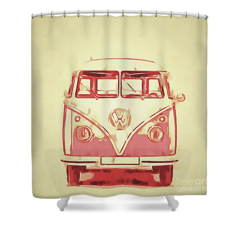 Vw Shower Curtain Featuring The Painting Van Graphic Artwork Yellow Red By Edward Fielding