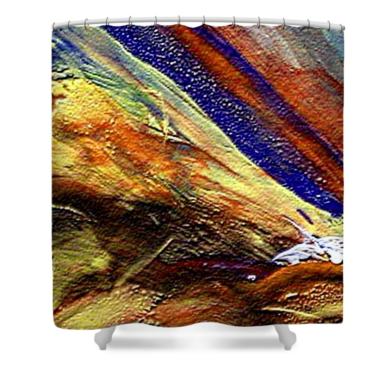 Encaustic Mixed Media Shower Curtain featuring the mixed media W 007 by Dragica Micki Fortuna
