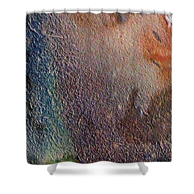 Abstract Landscape Shower Curtain featuring the painting W 012 - No One's Land by Dragica Micki Fortuna