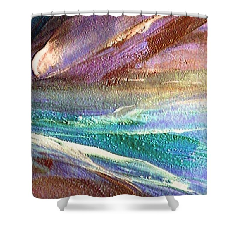 Comet Shower Curtain featuring the painting W 034-comet by Dragica Micki Fortuna