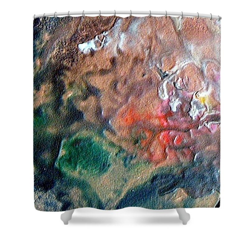 Tide Shower Curtain featuring the painting W 042 by Dragica Micki Fortuna