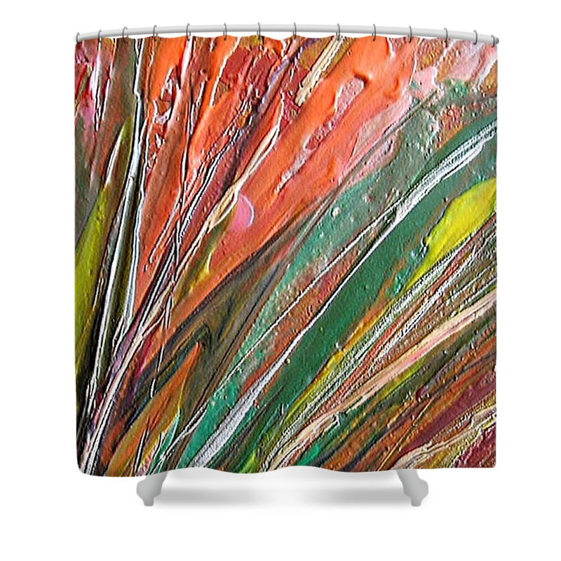 Abstract Shower Curtain featuring the painting W 043 by Dragica Micki Fortuna