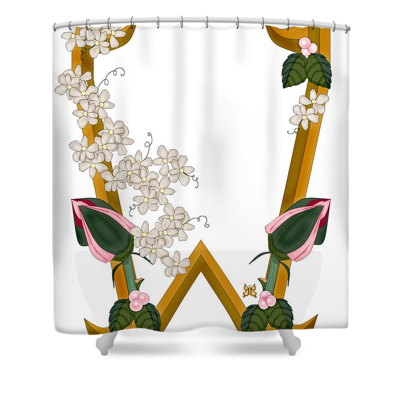 W Shower Curtain featuring the painting W Is For Wonderful by Anne Norskog