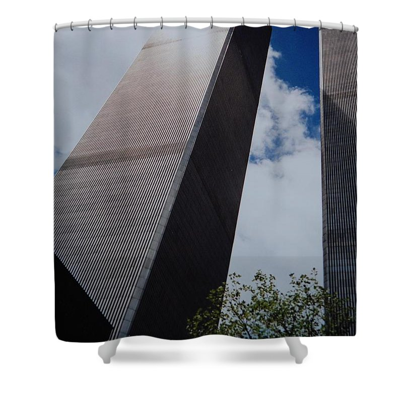 Wtc Shower Curtain featuring the photograph W T C 1 And 2 by Rob Hans
