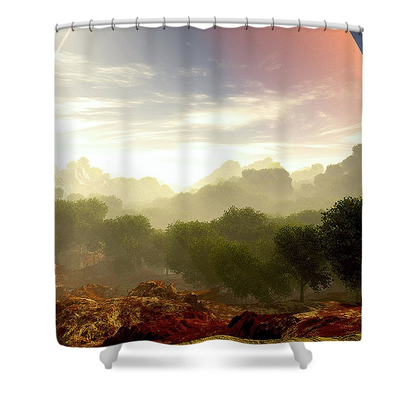 Terragen Shower Curtain featuring the digital art Wada's Red Moon by Napo Bonaparte
