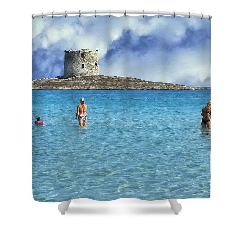 Stintino Shower Curtain featuring the painting Wading At Stintino by Dominic Piperata