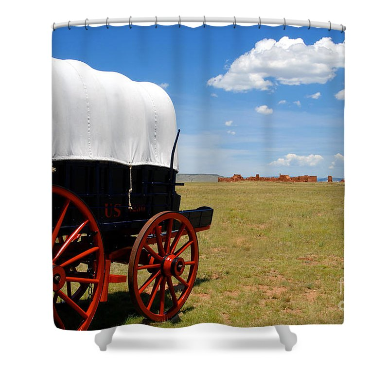 Fort Union New Mexico Shower Curtain featuring the photograph Wagon At Old Fort Union by David Lee Thompson