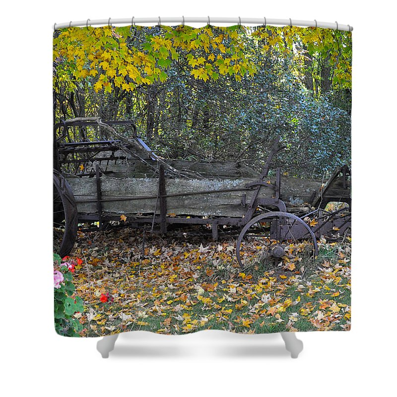 Door County Shower Curtain featuring the photograph Wagon by Tim Nyberg