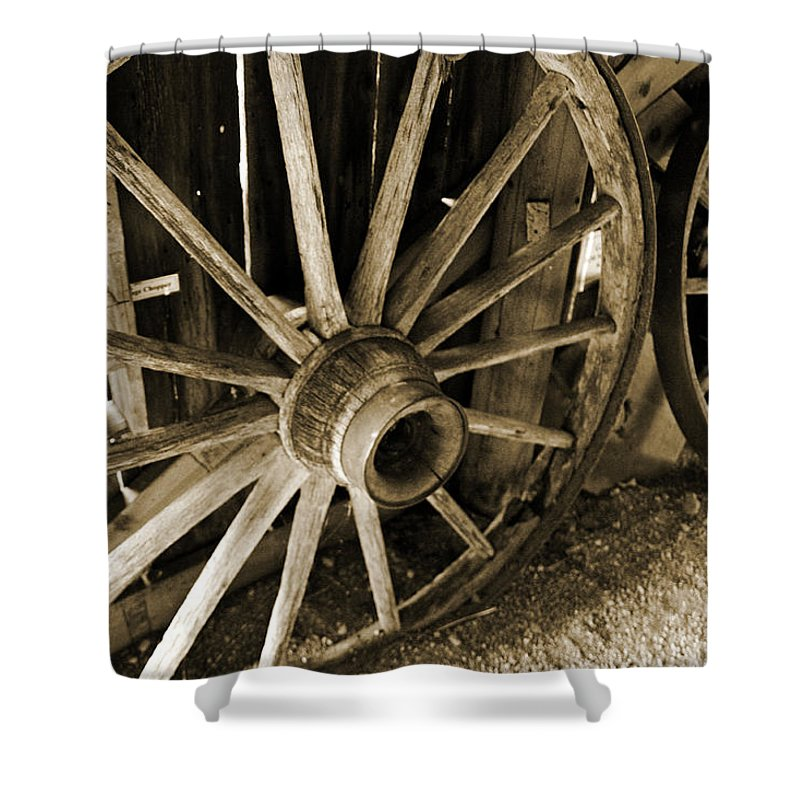 Wagon Wheels Shower Curtain featuring the photograph Wagon Wheels 3 by Joanne Coyle