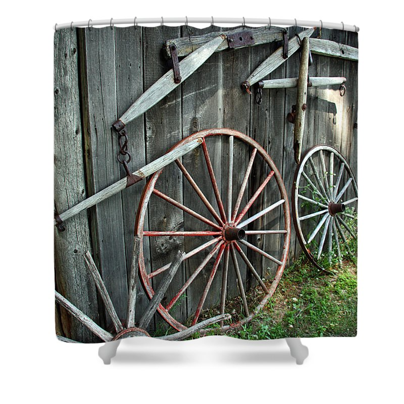 Wagon Shower Curtain featuring the photograph Wagon Wheels by Joanne Coyle