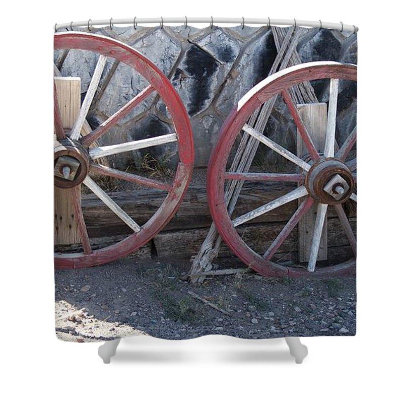 Wheels Shower Curtain featuring the photograph Wagon Wheels. by Robert Rodda