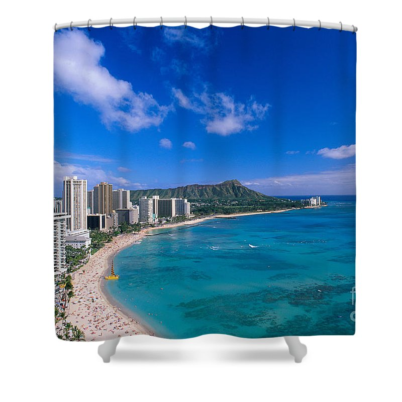 Aerial Shower Curtain featuring the photograph Waikiki And Diamond Head by William Waterfall - Printscapes