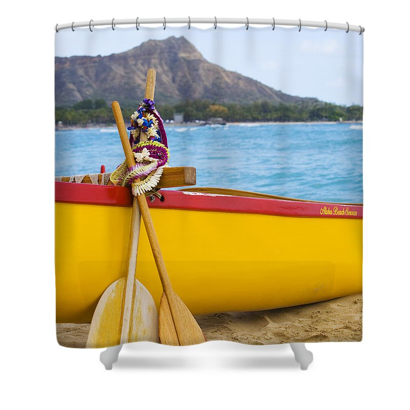 Ashore Shower Curtain featuring the photograph Waikiki Canoe Paddles by Dana Edmunds - Printscapes