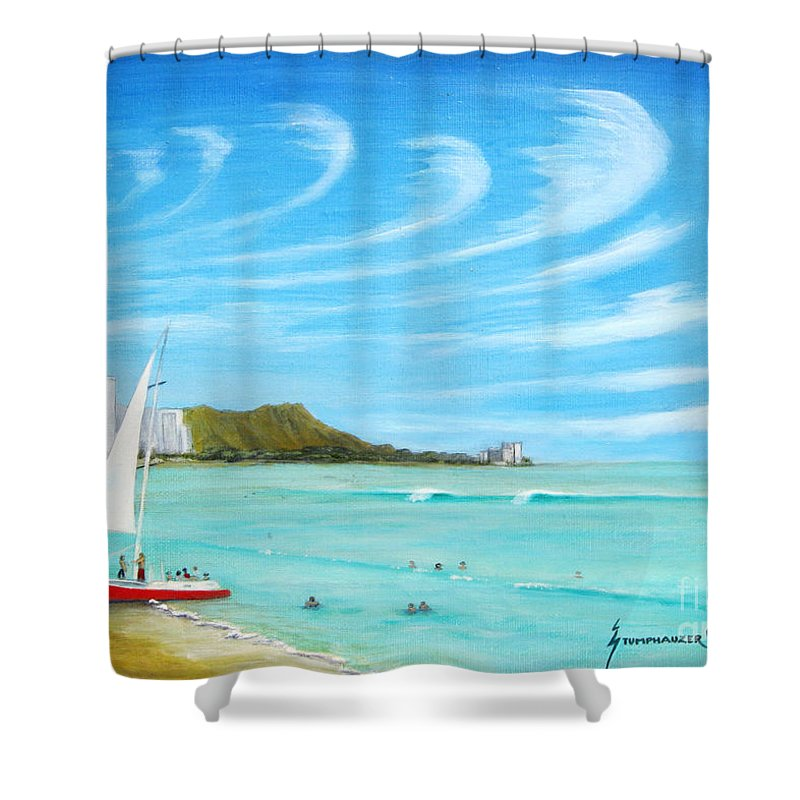 Waikiki Shower Curtain featuring the painting Waikiki by Jerome Stumphauzer