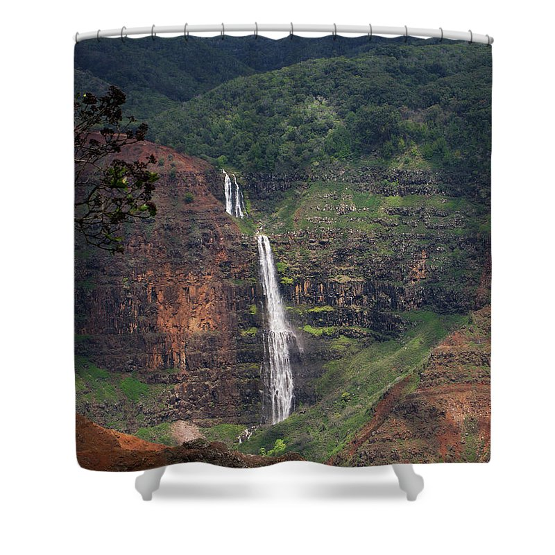 Phil Welsher Shower Curtain featuring the photograph Waimea Canyon Waterfall by Phil Welsher