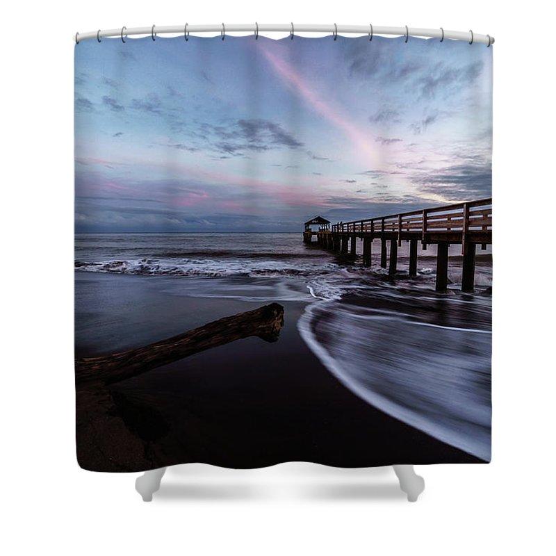 Beach Shower Curtain featuring the photograph Waimea Pier by David Kulp