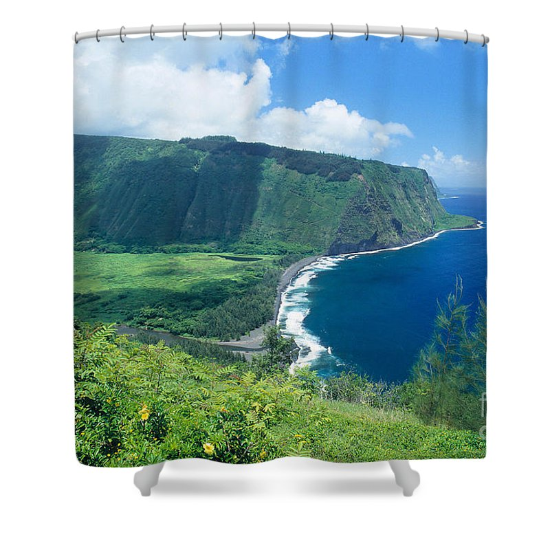 Aerial Shower Curtain featuring the photograph Waipio Valley Lookou by Greg Vaughn - Printscapes
