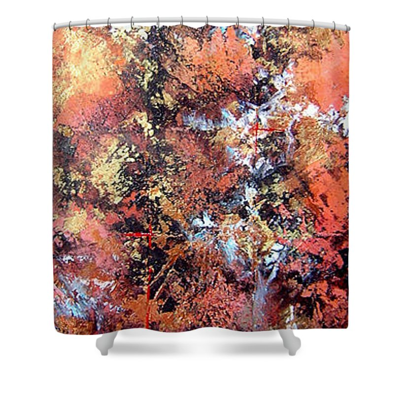 Tile Shower Curtain featuring the painting Wait For Sleep by Shadia Derbyshire