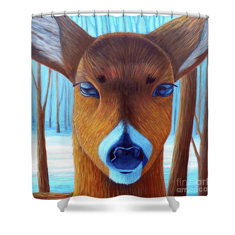 Deer Shower Curtain featuring the painting Wait For The Magic by Brian Commerford