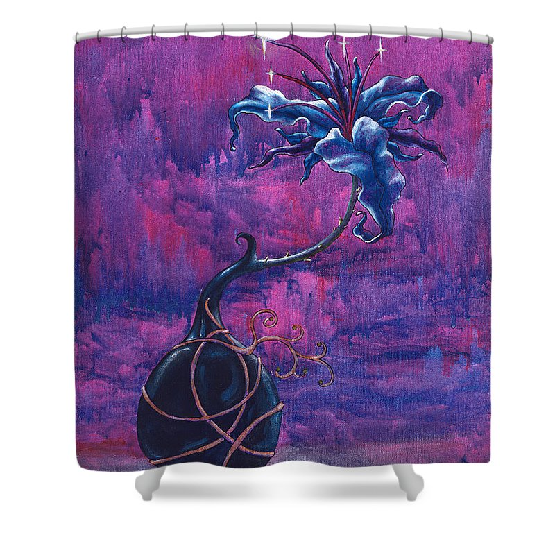 Lily Shower Curtain featuring the painting Waiting Flower by Jennifer McDuffie