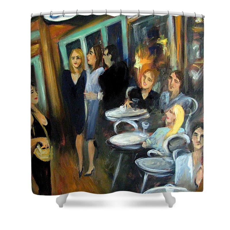 Sidewalk Cafe Shower Curtain featuring the painting Waiting For A Table by Valerie Vescovi