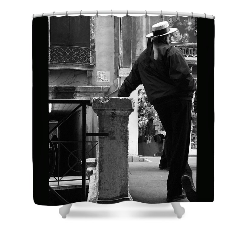 Venice Shower Curtain featuring the photograph Waiting For Business by Donna Corless