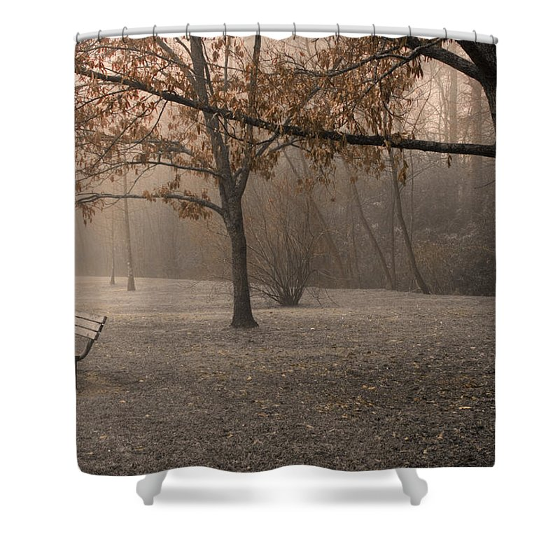 Park Shower Curtain featuring the photograph Waiting For God by Ayesha Lakes