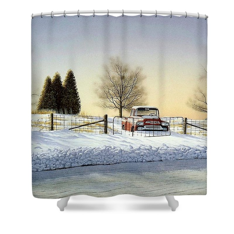 Landscape Shower Curtain featuring the painting Waiting For Spring by Conrad Mieschke
