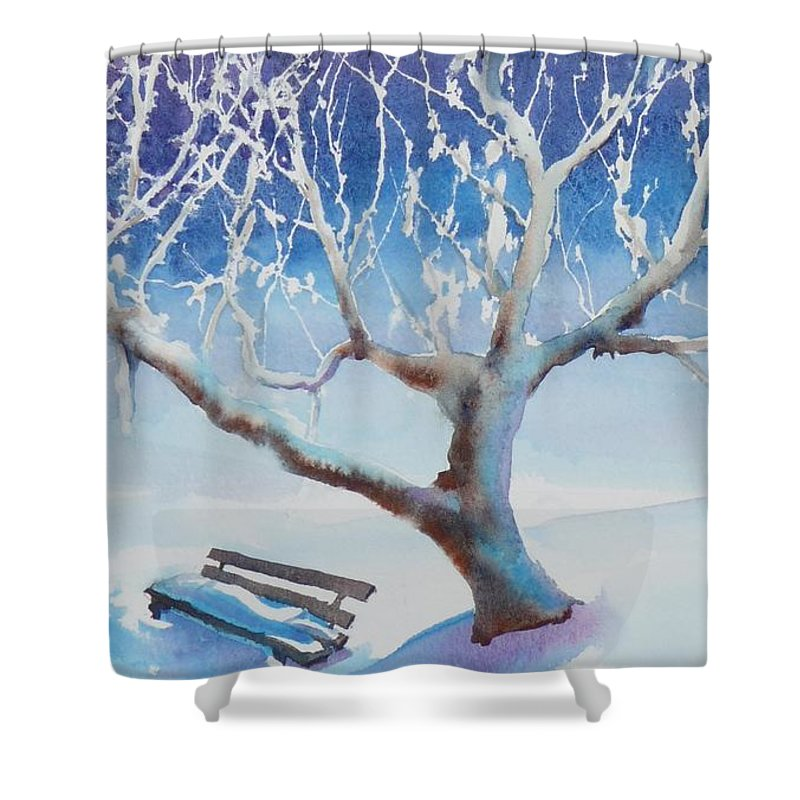 Snow Shower Curtain featuring the painting Waiting For Spring by Ruth Kamenev