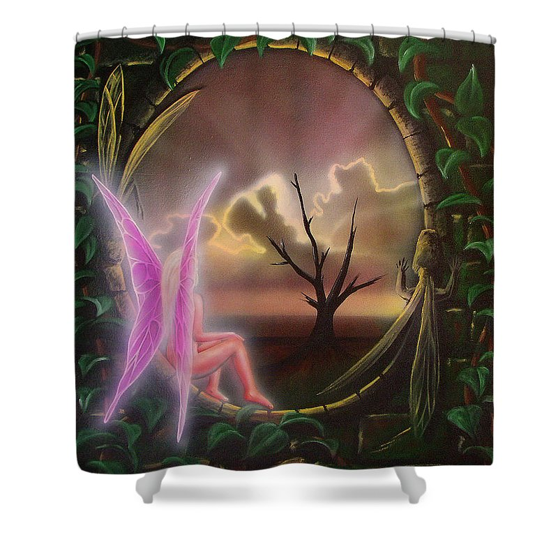 Fairy Shower Curtain featuring the painting Waiting For Spring by Shaun McNicholas