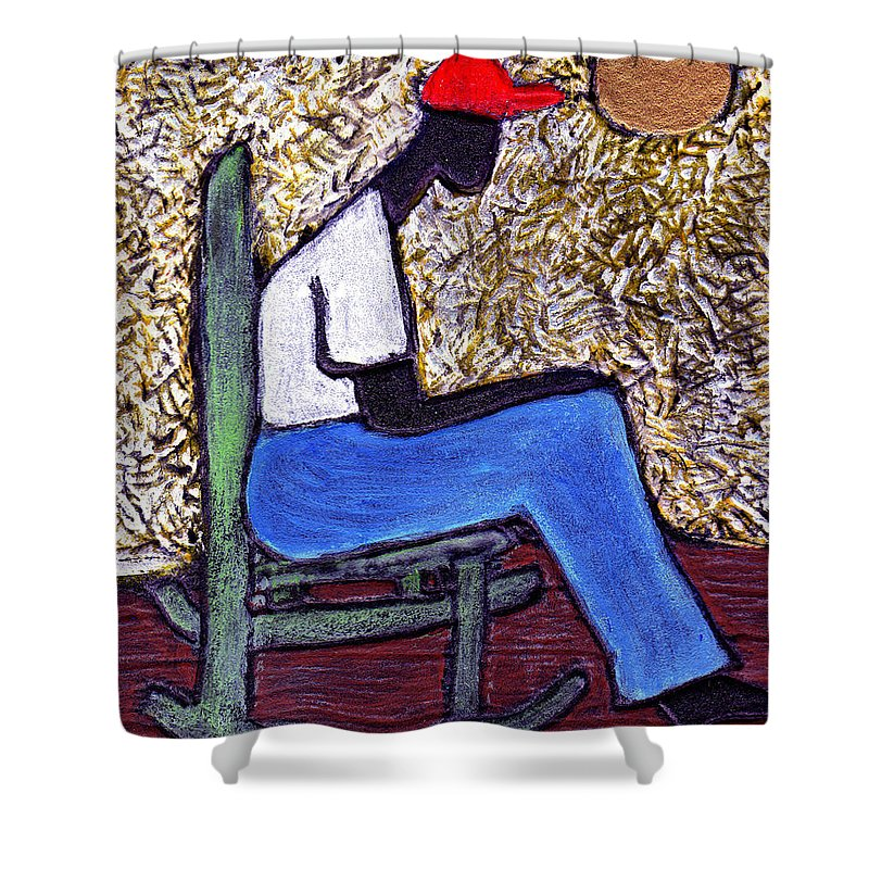 Black Art Shower Curtain featuring the painting Waiting For The Dream by Wayne Potrafka
