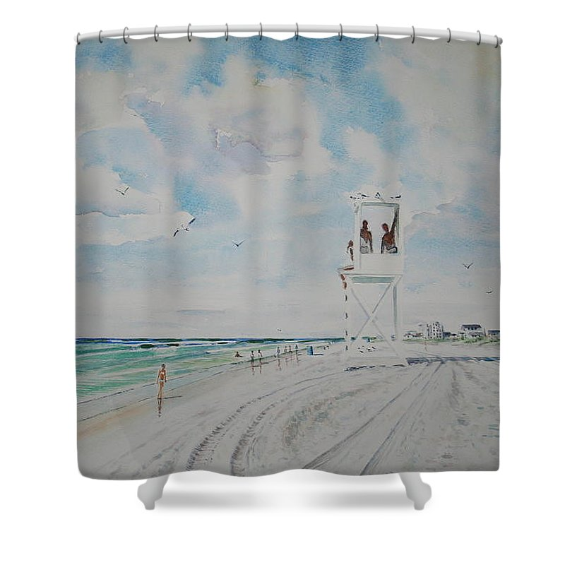 Ocean Shower Curtain featuring the painting Waiting For The Lifeguard by Tom Harris