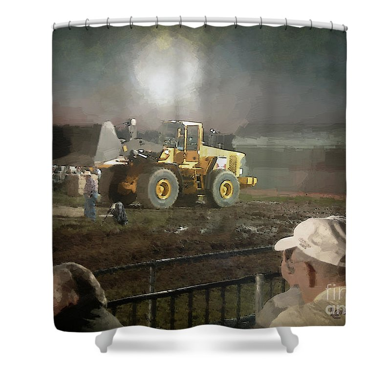 Americana Shower Curtain featuring the painting Waiting For The Pull by RC DeWinter