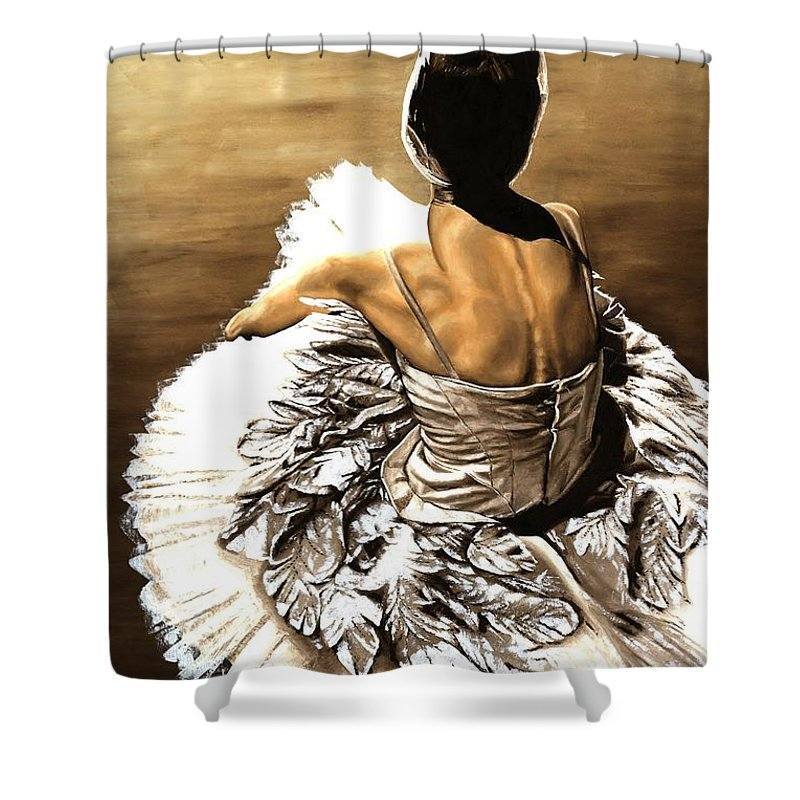 Ballet Shower Curtain featuring the painting Waiting In The Wings by Richard Young