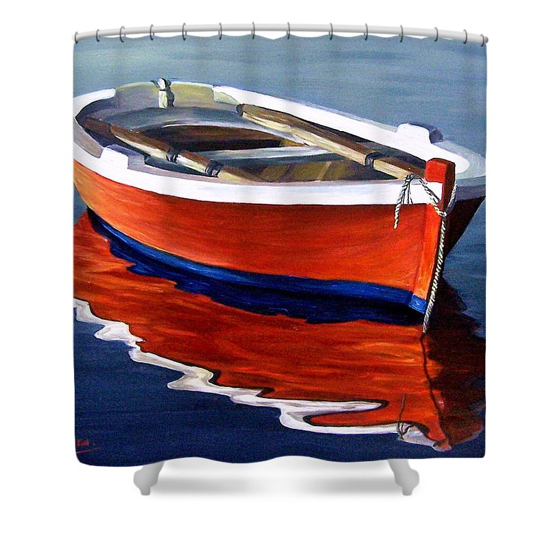 Seascape Water Boat Reflection Ocean Sea Shower Curtain featuring the painting Waiting by Natalia Tejera