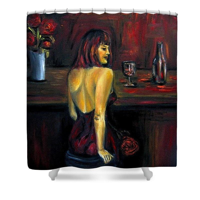 Woman Shower Curtain featuring the painting Waiting... Oil Painting  by Natalja Picugina