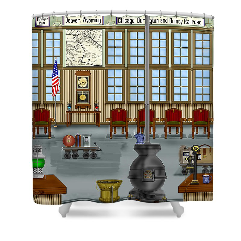 Realism Shower Curtain featuring the painting Waiting Room At The Depot by Anne Norskog